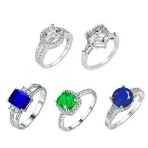 Cubic Zirconia Ring Gem Collection 5 Styles, 4 Sizes (K,M,P,R) 100Pcs Joblot UK
