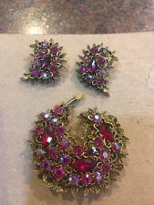 Vintage Signed EMMONS Red Pink Rhinestone Brooch Pin Earrings Clip On Set