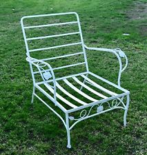 """VINTAGE WOODARD """"CHANTILLY ROSE""""  MID CENTURY WROUGHT IRON ARM CHAIR"""