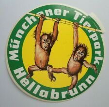 Aufkleber Münchener Tierpark Hellabrunn Schimpansen-Babys Zoo Sticker 80s