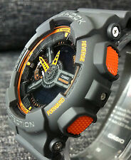 Casio G Shock GA-110TS-1A4ER Gris y Naranja Extra Grande Analógico & Digital Nuevo