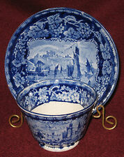 Early 19th Century Staffordshire Blue & White Cup and Saucer Cliffs of Dover ~C~