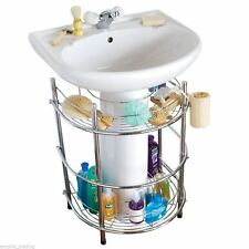 2 TIER CHROME UNDER SINK UNIT CADDY STORAGE SHELVES ACCESSORIES WITH TOWEL RAIL