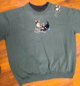 VTG Top Stitch Morning Sun Women's Size L Green Kitty Cat Embroidered Sweatshirt