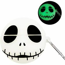 AirPods Case,Cartoon Cute Luminous White Skull Soft Silicone Kawaii Airpod Kits