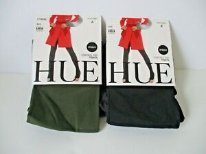 HUE Ultimate opaque control top tights 2 pr~Plus Size 4~green/black 40 denier