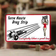 """Terre Haute Drag Strip sticker decal hot rod rat pin up pinup girl MOON 3.75"""""""