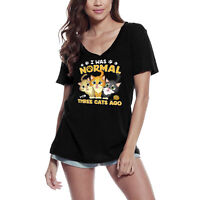 ULTRABASIC Femme T-shirt I Was Normal Three Cats Ago - Tee à manches courtes