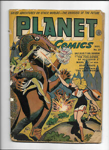 PLANET COMICS #27 [1943 FR-GD] DINOSAUR COVER!