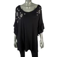 Terra & Sky Womens Top Plus Size 2X 20W 22W Tunic Rhinestones & Pearls Black