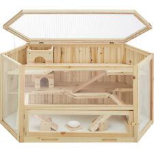 XXL Hamsterkäfig aus Holz Stall Käfig für Goldhamster 3 Ebenen