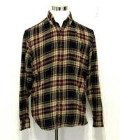 G. H. Bass & Co Mens Flannel Button Up Shirt Size Medium Plaid Blue Red Tan