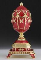 Keren Kopal Violet Faberge Egg w Golden Violin /& Austrian Crystals Trinket Box