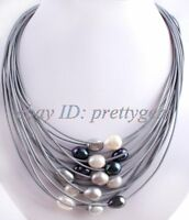 """15ROW 10-12MM WHITE&BLACK&GRAY PEARL GRAY LEATHER NECKLACE 16""""-22"""",MAGNET CLASP"""