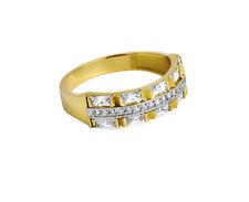 Damenring - Gelbgold 585/Rhodiniert - mit Zirkoniasteinen - Poliert