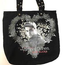 Vampire Diaries Bag Canvas Tote Black Goth Studded Love Sucks Handbag Bookbag