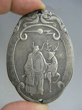 Old Chinese Sycee silver ingot Carving Silver brick Pendant **Free Shipping**