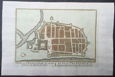 1755 Prevost & Schley Antique Map, Plan of Tharangambadi, in Tamil Nadu, India