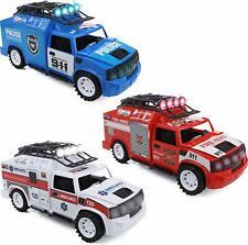 IQ Toys 3 Emergency Vehicles Playset - Ambulance, Fire & Police; Lights & Sirens