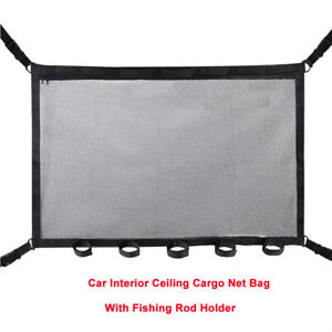 Car Roof Ceiling Adjustable Double-layer Pockets Mesh Net + Fishing Rod Holder