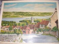 VINTAGE OIL PAINTING BOARD BY D BRAY - WELSH? CORNISH? LANDSCAPE 1961