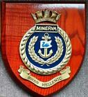 OLD MINERVA SWAN HELLENIC Painted Royal Navy hms Ship Badge Crest Shield Plaque