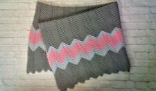 "NEW 73"" x 67"" HANDMADE Crocheted CHEVRON Afghan QUEEN SIZE Blanket GRAY PINK"