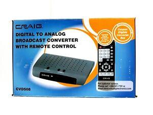 Craig CVD508 Digital To Analog Broadcast TV Converter with Remote