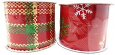 "New CHRISTMAS 2 1/2"" Ribbon Red Plaid Green White ~ Set of 2"