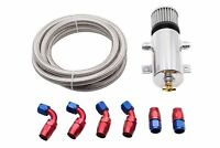 750ml Twin AN10 Port Baffled Engine Oil Catch Can w/ Braided Hose Kit Polished