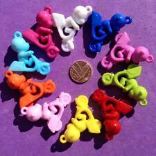 8 x Plastic Monkey & Bikes Charms, Key Rings, Jewellery, Crafts, Favours