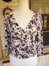 H&M PRETTY SPRING COTTON/MODAL RAYON FLORAL CARDIGAN SWEATER PINK/TAUPE/GRAY L