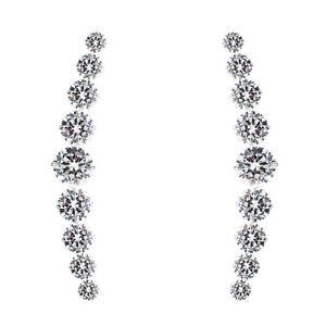 Minimal Handmade Jewelry White Cascading Rhinestone Ear Climber Up The Ear Crawler Stud Earrings in Silver or Gold