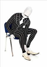 Gangster Morphsuit Costume Adult Morph Suit Pinstripe Black White Bodysuit  XL