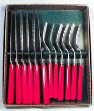 12 Pc Red Bakelite Flatware 6 Knives 6 Forks in Box Valley Forge Stainless Steel