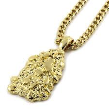 "Mens 14K Gold Plated Nugget Pendant Hip-Hop 3mm/30"" Cuban Chain"