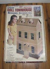 Vtg 1970s 1979 Arrow # 696 Wood Dream Doll House Kit 6 Room 3 Stories Townhouse