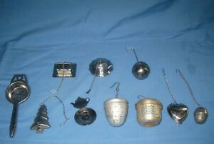 VTG Lot 10 Metal/Aluminum Tea Infusers Strainers Steepers Balls on Chains/Trays!