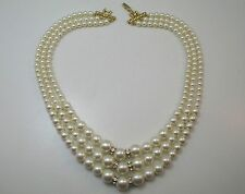3 STRAND FAUX PEARL NECKLACE WITH GOLD TONE FASTENINGS & RHINESTONE ACCENTS **