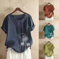 Plus Size Women Summer Short Sleeve Cotton Linen O-Neck Print Blouse Top T-Shirt