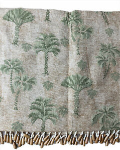 """JCPenney Palm Beach Palm Tree Tropical Beaded Valance 72x15"""" Wood Beads (1)"""