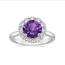 Real 14K White Gold Rings Amethyst Gemstone 1.63 Ct Diamond Engagement Ring