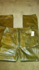 Wilsons The Leather Experts Sz 12 Olive Green 5 Pkt Leather Jeans NWT MSRP $179