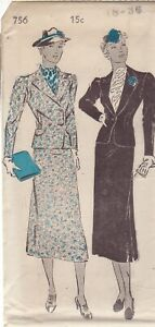 NEW YORK VINTAGE 1930'S PATTERN 756 SIZE 18 MISSES' SUIT IN 2 VERSIONS