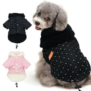 Pet Puppy Dog Winter Warmer Apparel Chothes Fleece Lined Hooded Fur Coat Jackets