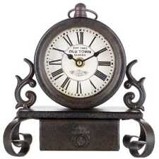 Table Clock Bronze Metal With Drawer Antique Look Roman Numerals, Desk Mantle 8""