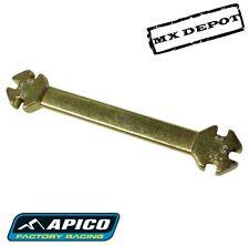 APICO 6 IN 1 GOLD SPOKE KEY SPANNER WRENCH FOR MOTOCROSS ENDURO & TRIALS BIKES