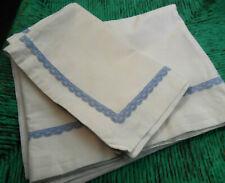 French Vintage 2 Pieces Cotton BABY Crib Bed SHEET & PILLOWCASE White, Blue Trim