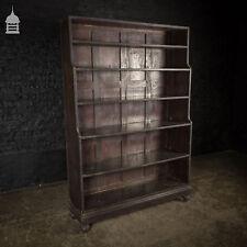 Early 19th C Ebonised Teak Waterfall Shelves Bookcase on Bun Feet