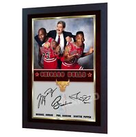 Michael Jordan Scottie Pippen Phil Jackson autograph photo signed NBA Framed